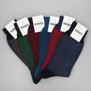 Pack of 6 Cotton Lisle Socks with Houndstooth Pattern
