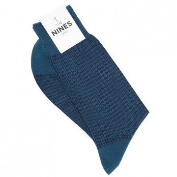 Petrol blue cotton lisle socks with blue houndstooth pattern