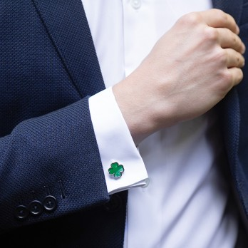 Green Four-Leave Clover Cufflinks
