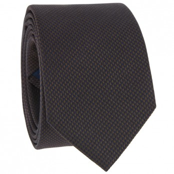 Brown Tie with Brown Houndstooth in Jacquard Silk