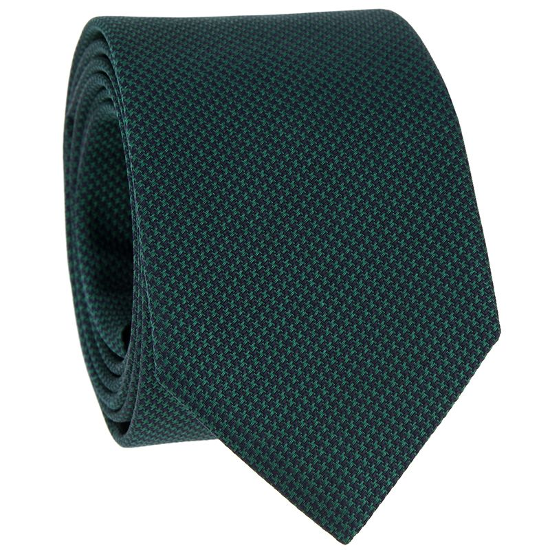 Green Tie with Green Houndstooth in Jacquard Silk
