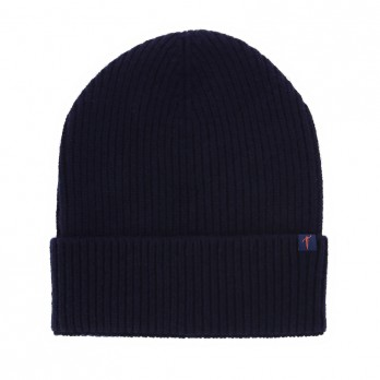 Navy Blue Beanie with Merino Wool and Cashmere