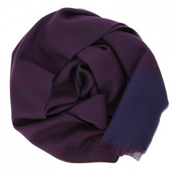 Burgundy merino wool scarf with blue houndstooth pattern