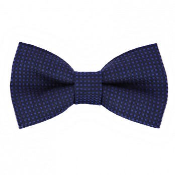 Blue Bow Tie in Silk and Wool Basket Weave