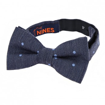 Navy Blue Bow Tie with Blue Dots in Wool