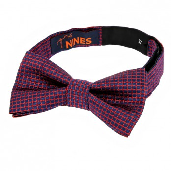 Navy Blue Bow Tie with Red Japanese Seigaiha pattern in Silk