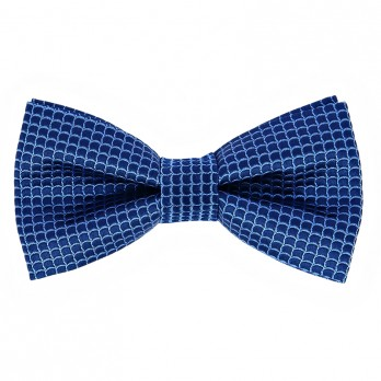 Navy Blue Bow Tie with Blue Japanese Seigaiha pattern in Silk