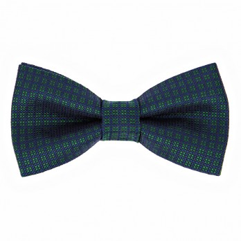 Navy Blue Bow Tie with Green Diamond Pattern in Silk