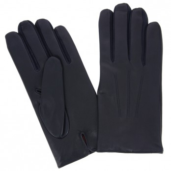 Navy Blue Calfskin Leather Gloves with Cashmere Lining