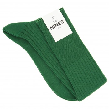 English green virgin wool knee socks