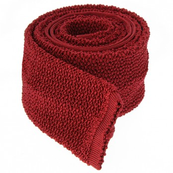 Garnet Red Knit Tie - Crunchy