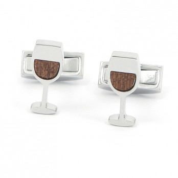 Wooden Wine Glass Cufflinks - St. Estèphe