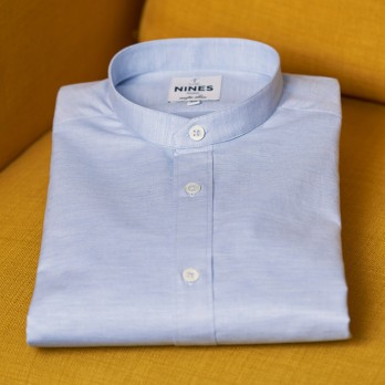 Band collar shirt brushed cotton light blue