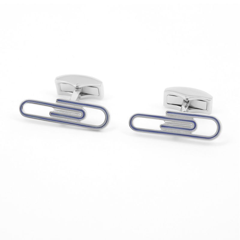Blue paperclip cufflinks