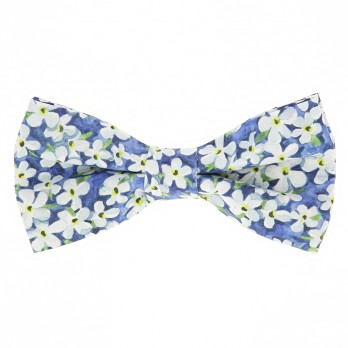 Blue Liberty bow tie with white flowers - Jasmin