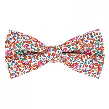 Orange Liberty bow tie with flowers - Wildflower