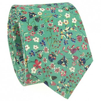 Green Liberty tie with flowers - Lily