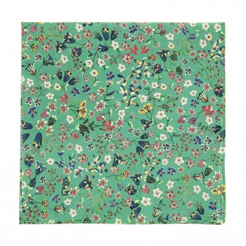 Green Liberty pocket square with flowers - Lily