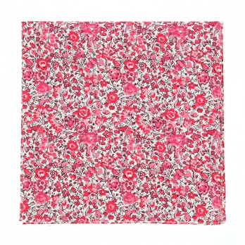 Pink Liberty pocket square with flowers - Peony