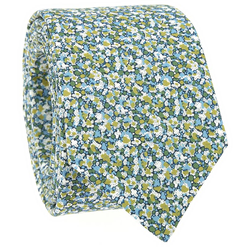 Blue and green Liberty tie with speckled flowers