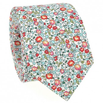 Aqua Liberty tie with flowers - Wildflower