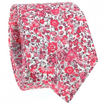 Pink Liberty tie with flowers - Peony