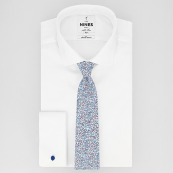 Blue Liberty tie with flowers - Wildflower