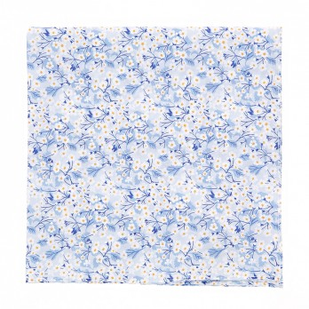 Light blue Liberty pocket square with white flowers - Anemone