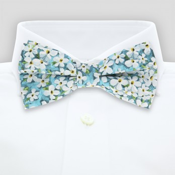 Turquoise Liberty bow tie with white flowers - Jasmin