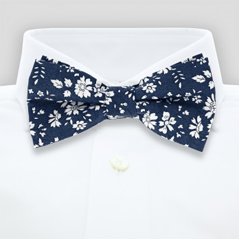 Navy blue Liberty bow tie with white flowers - Cornflower