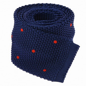 Cravate tricot en soie bleue à pois orange