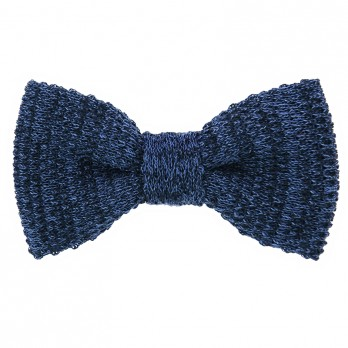 Knit bow tie linen navy blue