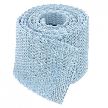Knit tie linen light blue