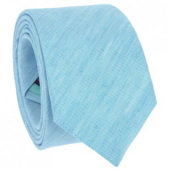 Turquoise Blue Tie in Basket Weave Linen and Silk - Bergame