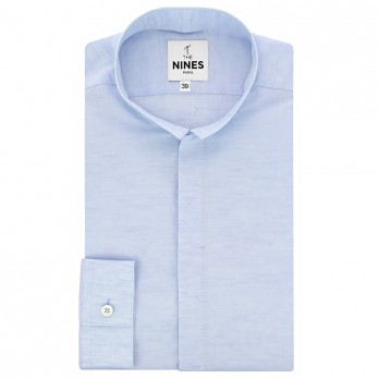 Reverse collar shirt light blue heather linen
