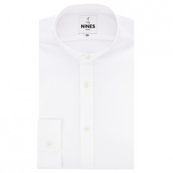 Band collar shirt white heather linen