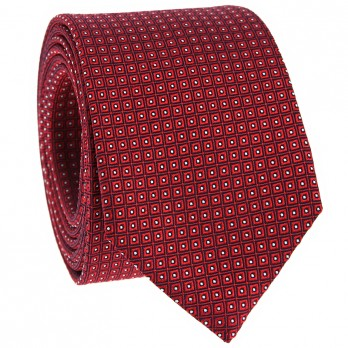 Cravate jacquard de soie losanges rouge
