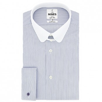 French cuff shirt with tab collar and blue stripes