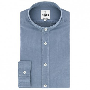 Band collar shirt denim stone wash