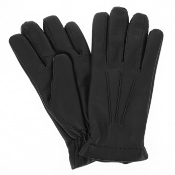 Black deerskin leather gloves sewn and cashmere lining