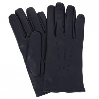 Navy blue lambskin leather gloves with cashmere lining