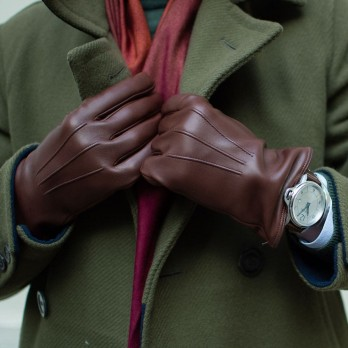 Brown lambskin leather gloves with cashmere lining
