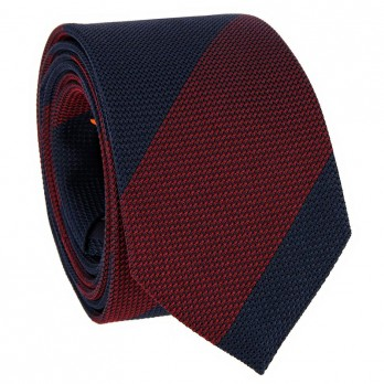 Navy blue grenadine silk tie with burgundy stripes