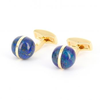 Lapis lazuli and gold spherical cufflinks - Saturne