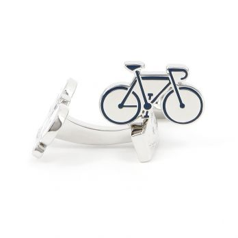 Blue racing bike cufflinks