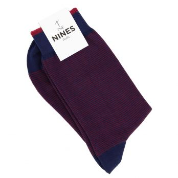 Cotton socks navy blue with burgundy stripes