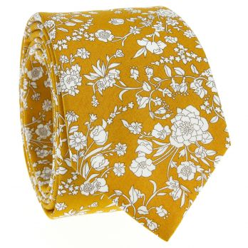 Mustard yellow Liberty tie with flowers