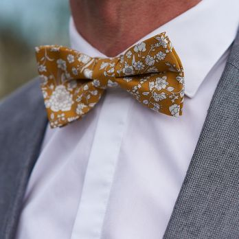 Mustard yellow Liberty bow tie with flowers