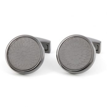 Gunmetal round stained glass pattern cufflinks - Notre-Dame