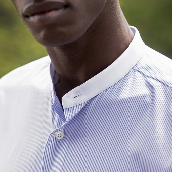 Band collar shirt with blue stripes
